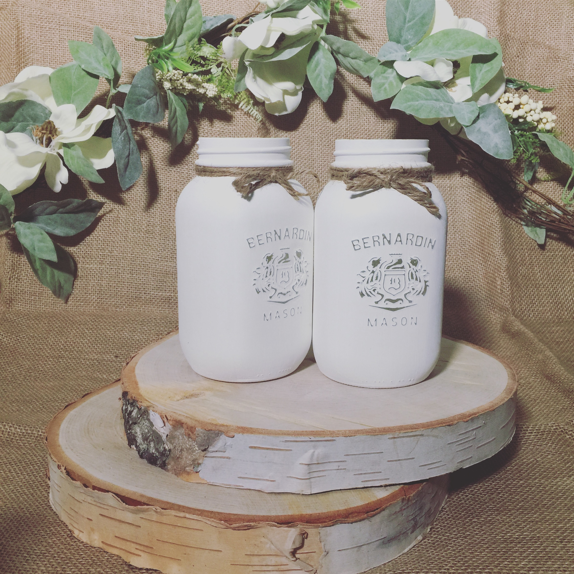 White Painted Mason Jars