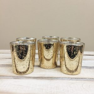 Gold Mercury Glass Votive Candle Holder