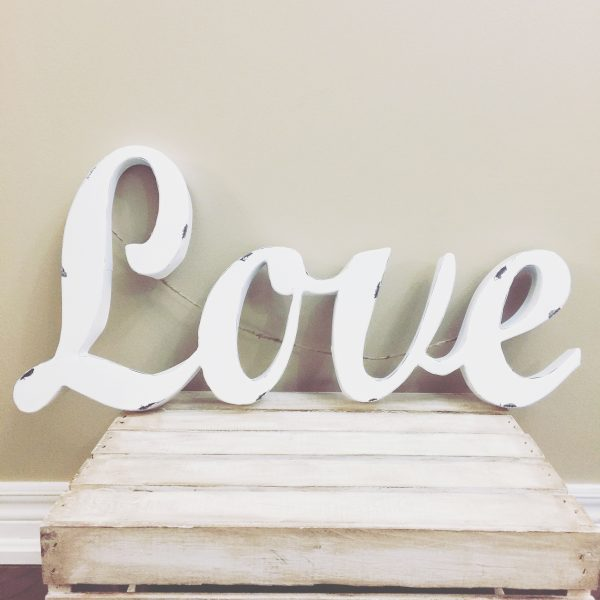 Distressed White Love Sign