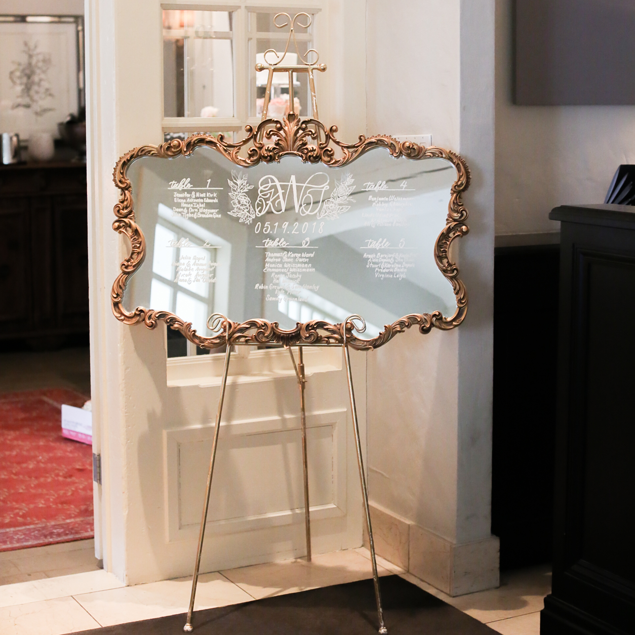Gold Rimmed Ornate Vintage Mirror Seating Chart Welcome Sign