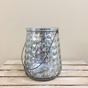 Gray Silver Mercury Glass Candle Holder