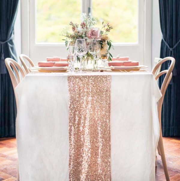 Champagne Sequin Table Runner