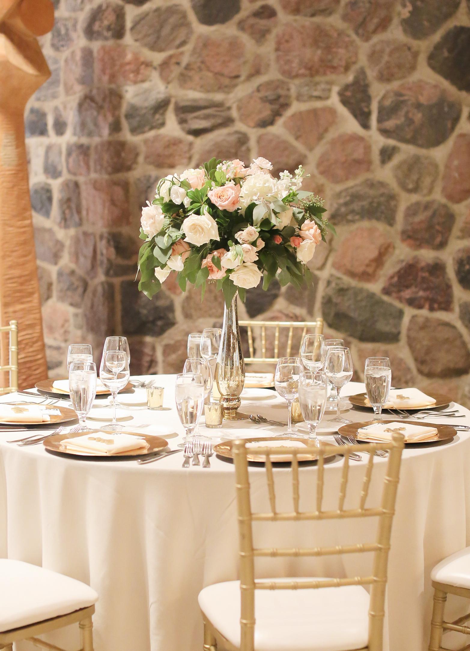 Peach White Wedding Flower High Centerpiece