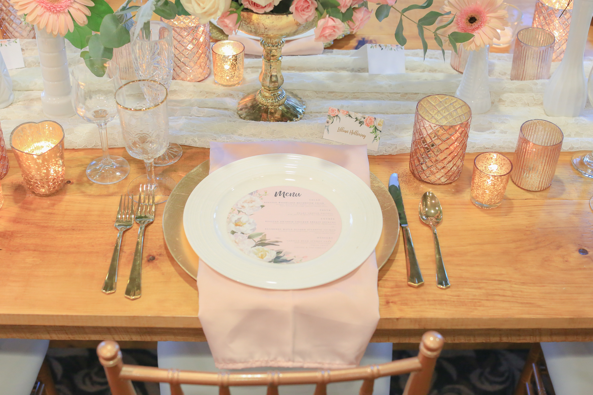 Rustic Table Setting Wedding Reception Blush Gold
