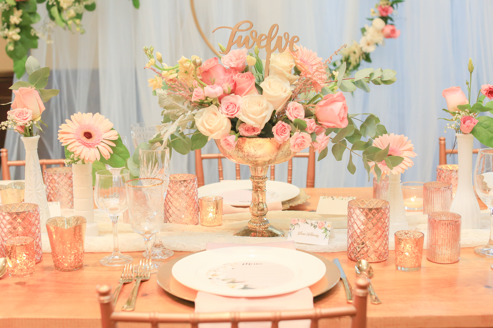 Wooden Table Number Gold Blush Wedding Theme Idea