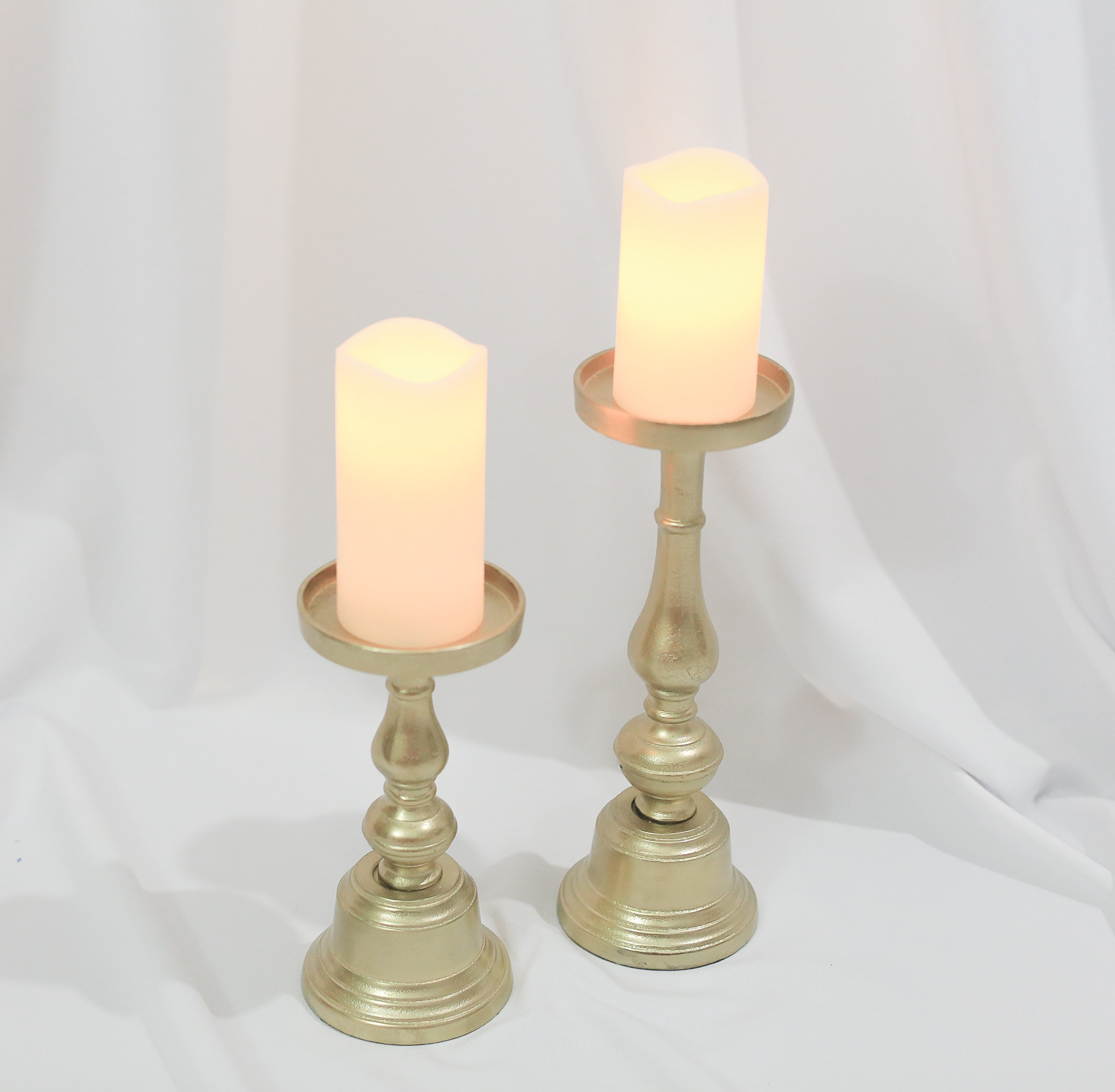 Loisa Gold Pillar Candle Holders Set of 2 Rental VintageBash