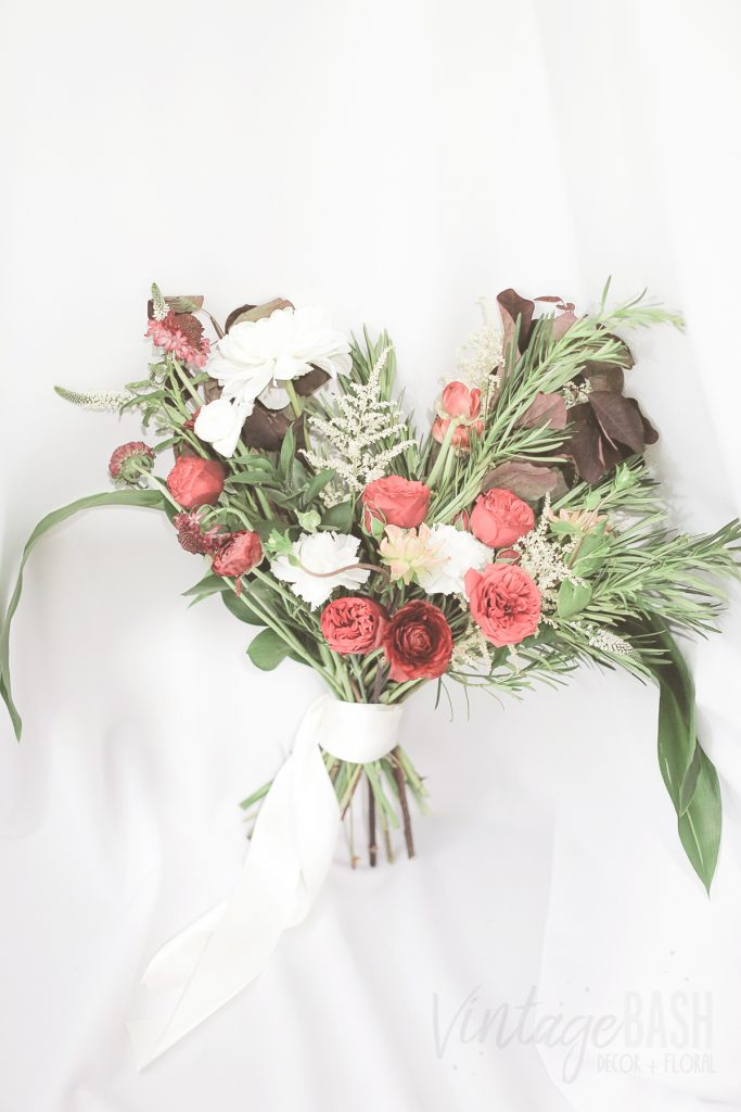 Moody Burgundy + White Bouquet