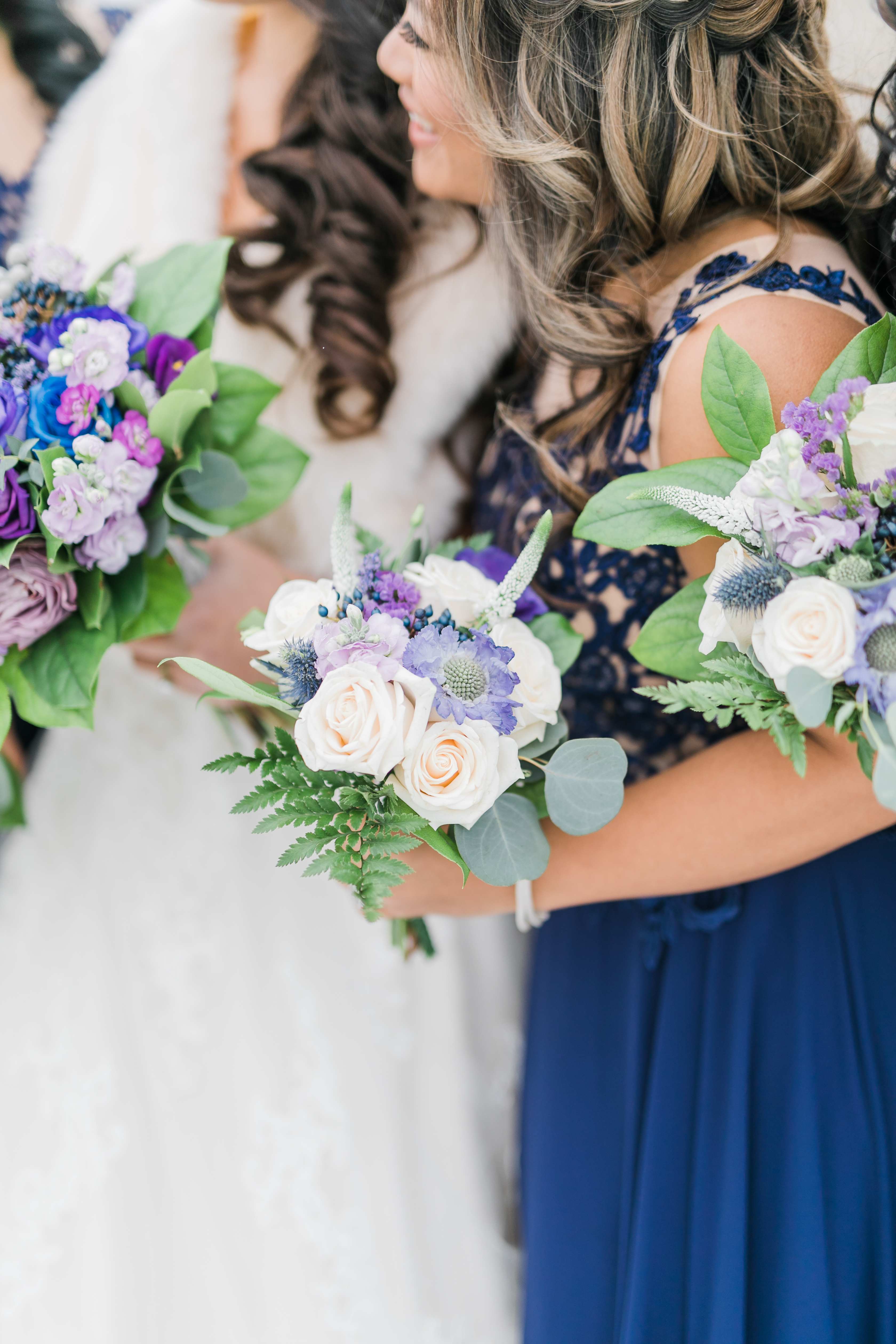 Purple Navy Blue Greenery Bridesmaid Bouquets Wedding