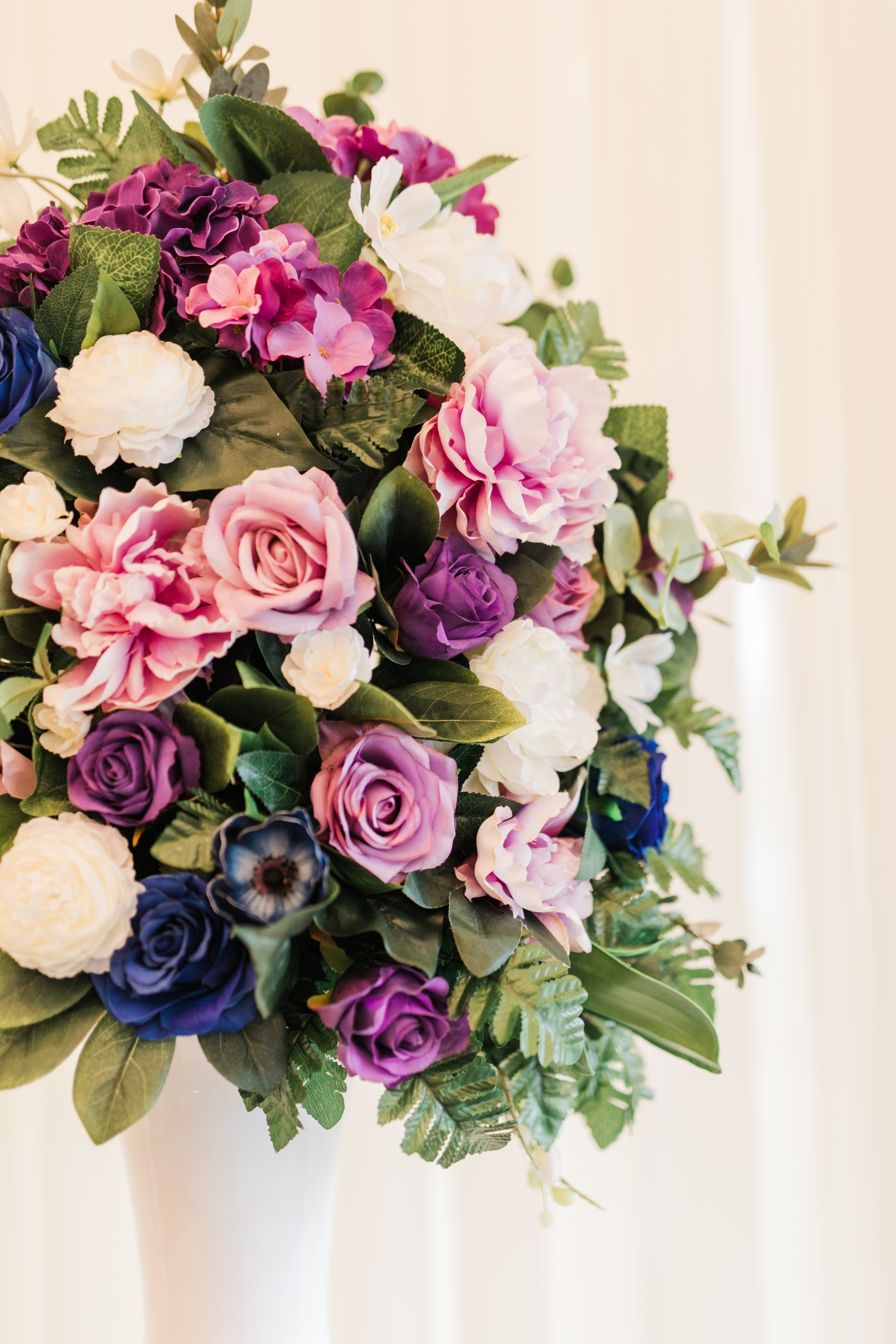 Ceremony Altar Flowers Purple Navy Blue