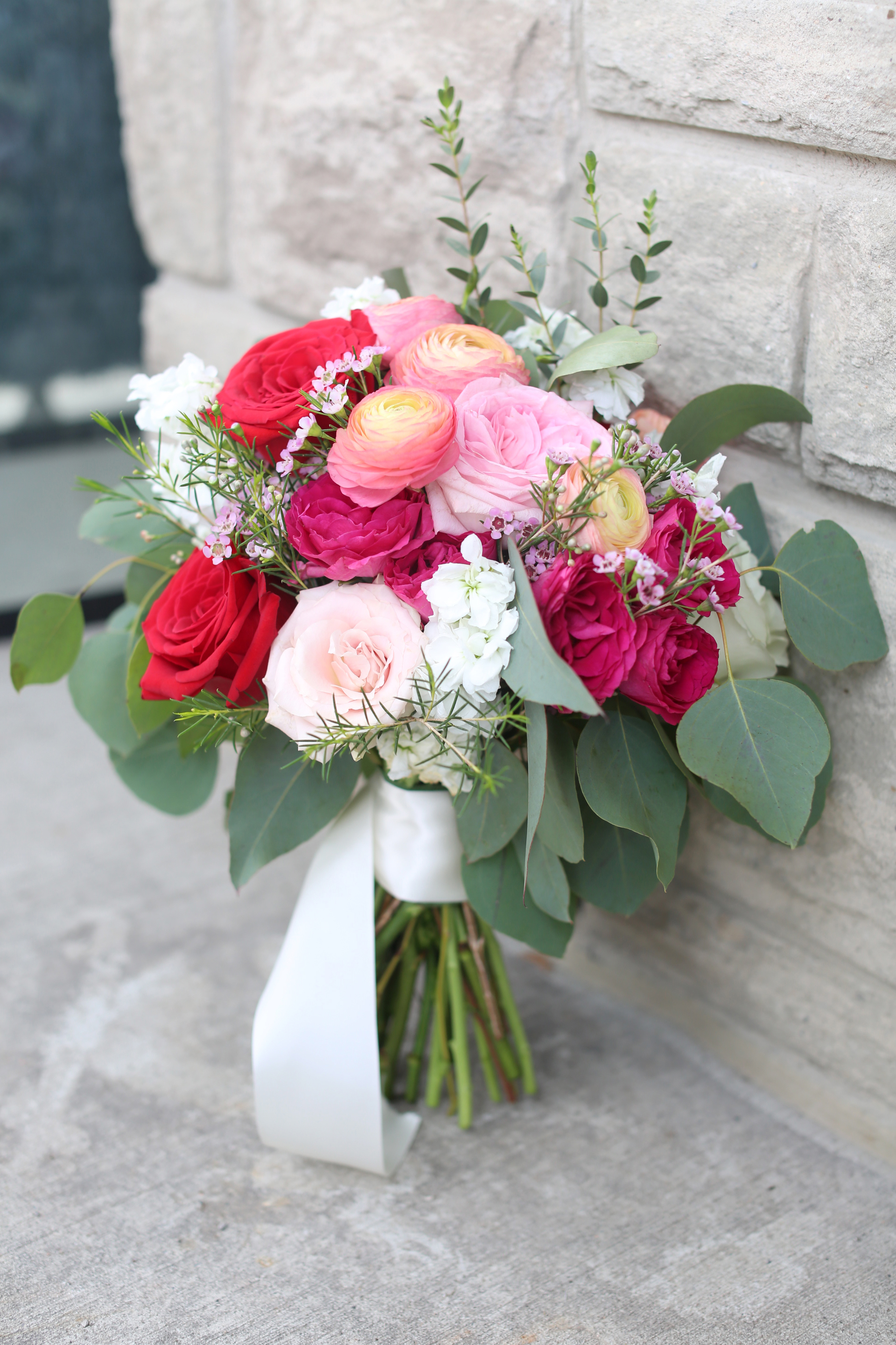 Red, Pink, Light Pink, Wild Bride Wedding Flower Bouquet