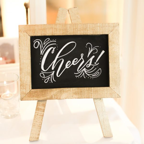 small gold wooden chalkboard
