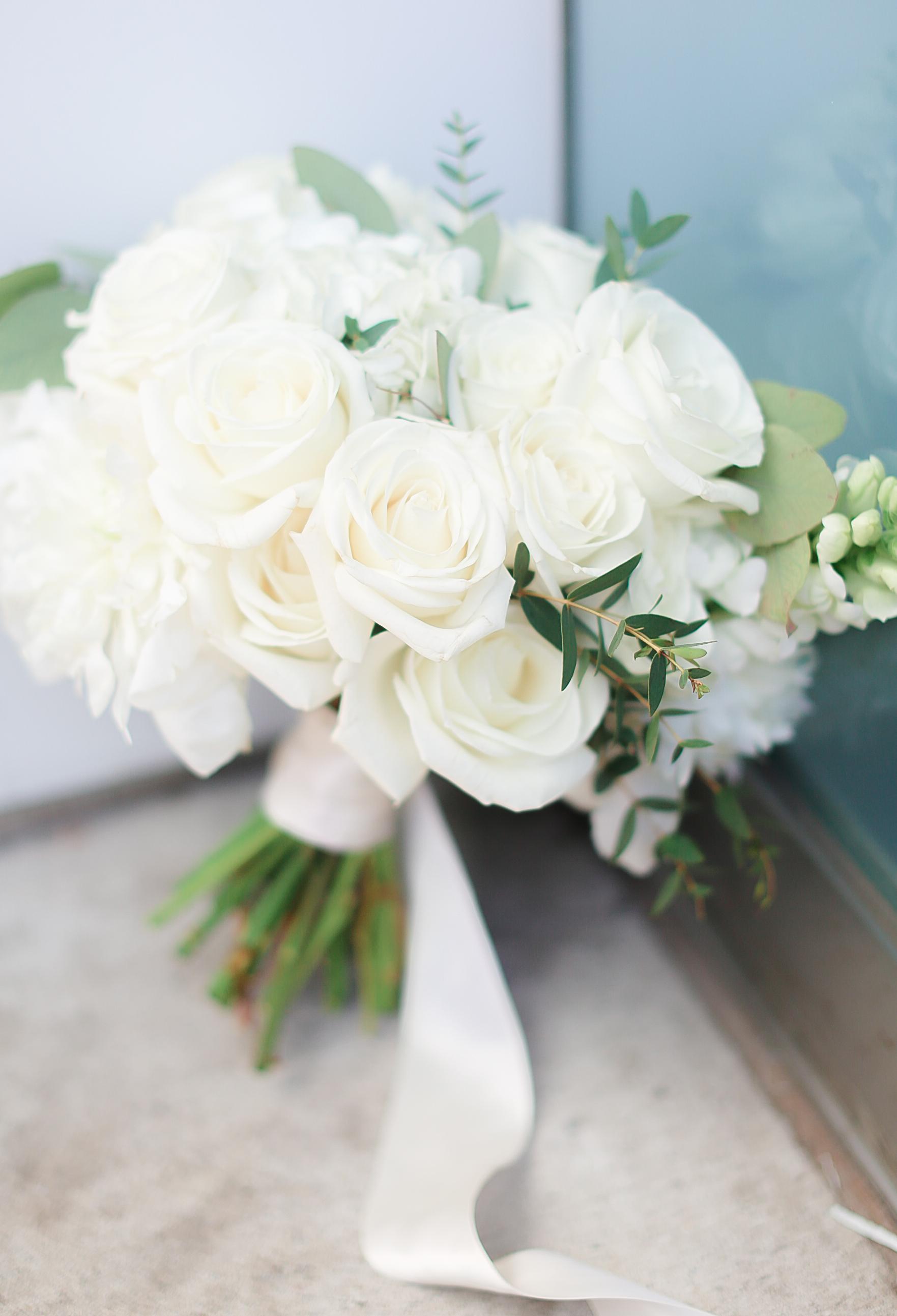 White & Greenery Bride Bouquet Wedding