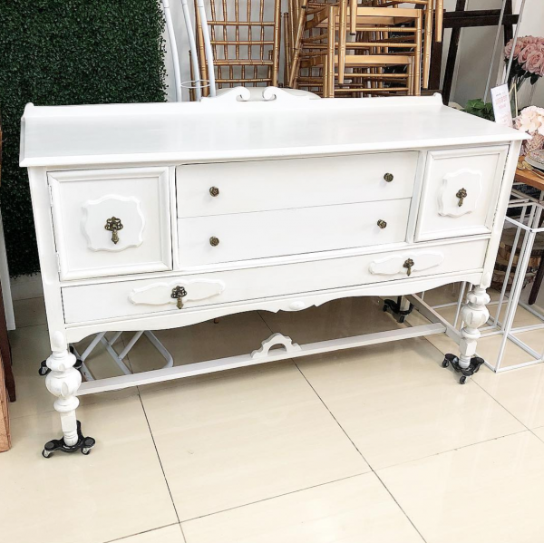 White Vanity Sideboard Buffet Server French Inspired