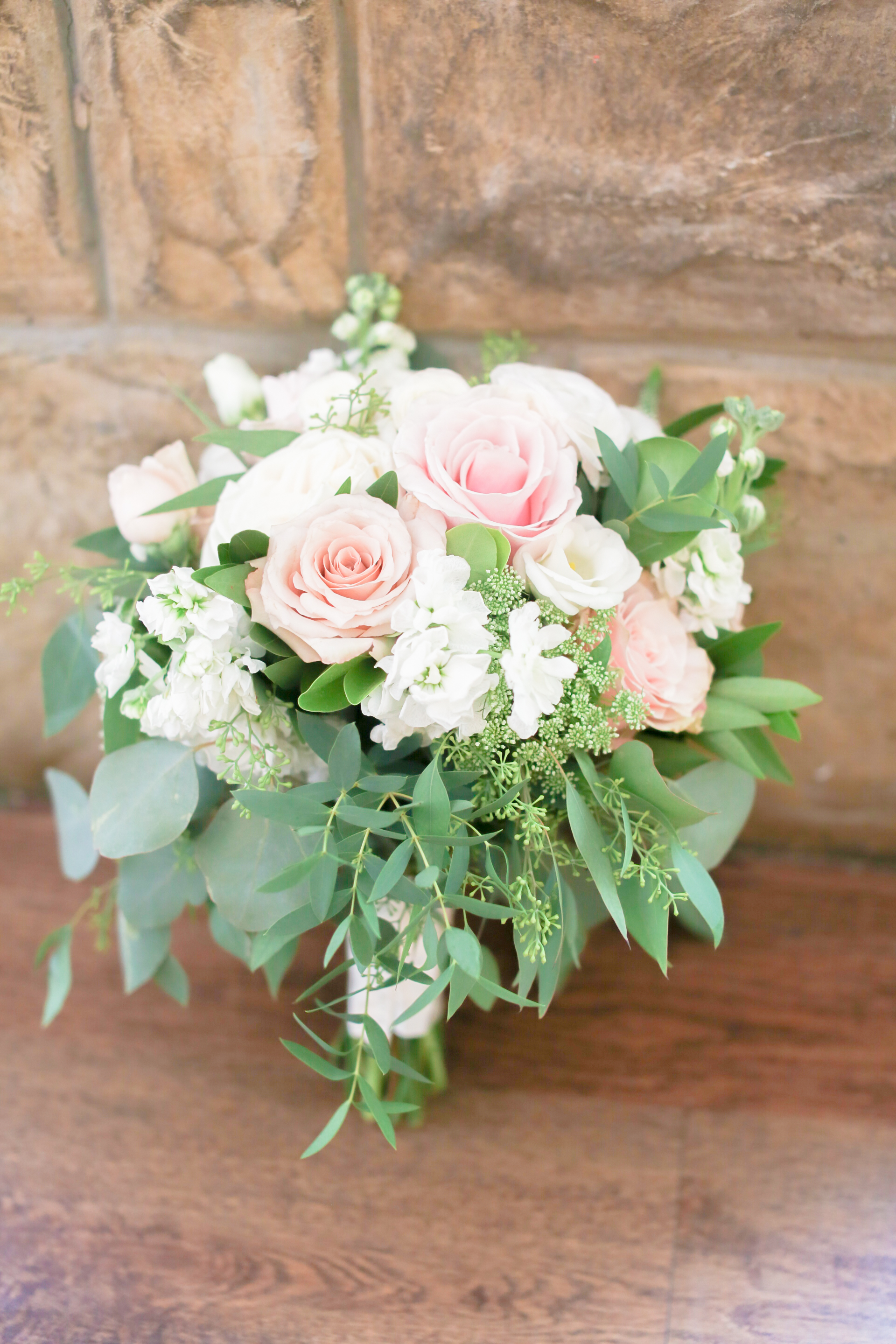 Blush White Greenery Bouquet Seeded Eucalyptus