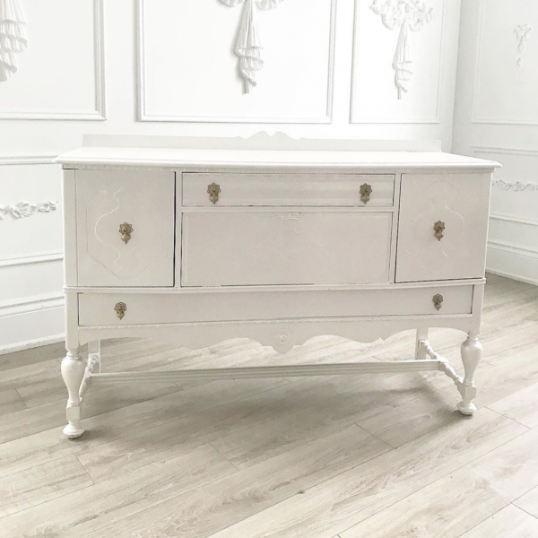 Ella Distressed White Vanity Server Table
