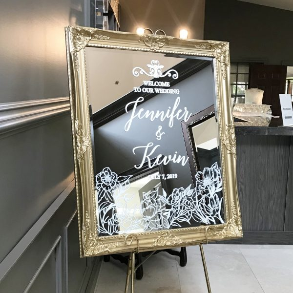 Welcome Sign Gold Mirror