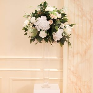 clear trumpet peach centerpiece