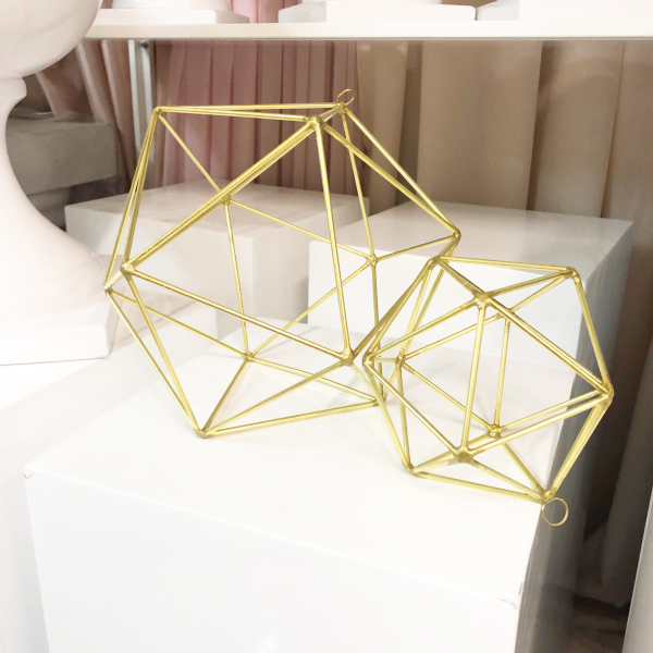 Gold Geometric Vase Wedding Open Style No Glass