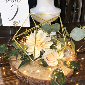 Geometric Floral Centerpiece Gold