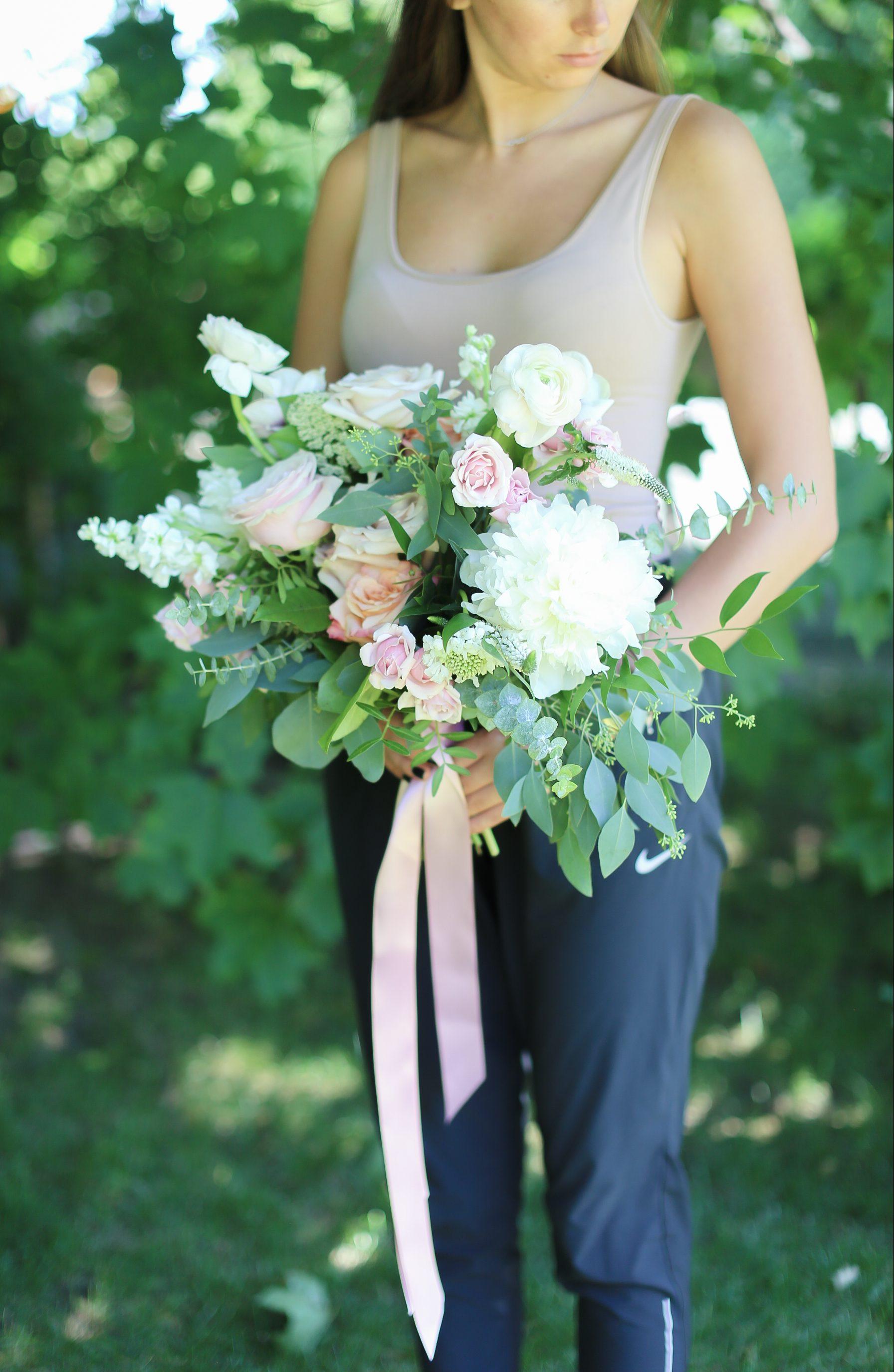 Pink Peach Ranunculus Irregular Shape Bouquet Peony