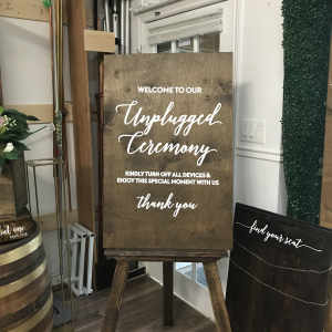 Unplugged Ceremony Wooden Rustic Sign