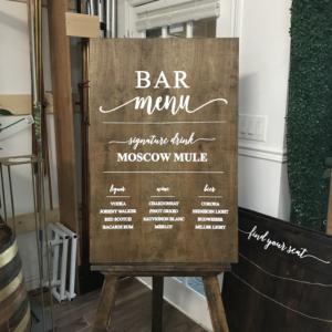 bar menu wooden rustic