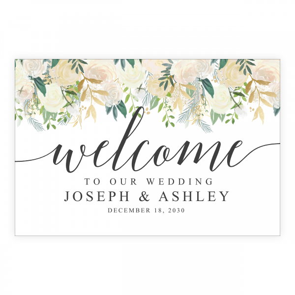 Gold Greenery Seating Welcome Sign