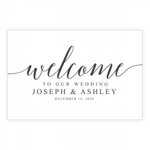 black and white welcome sign minimalist