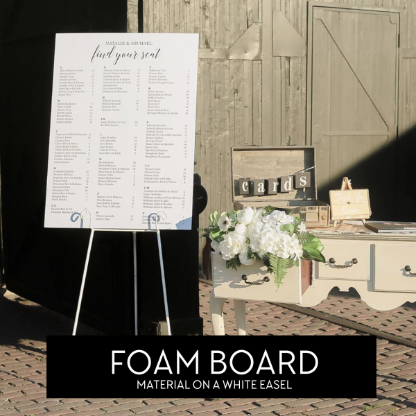 White Easel Minimalist Seating Chart