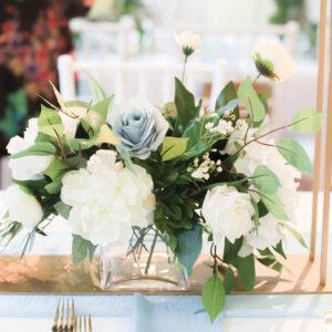 Slate Blue Wedding Centerpiece