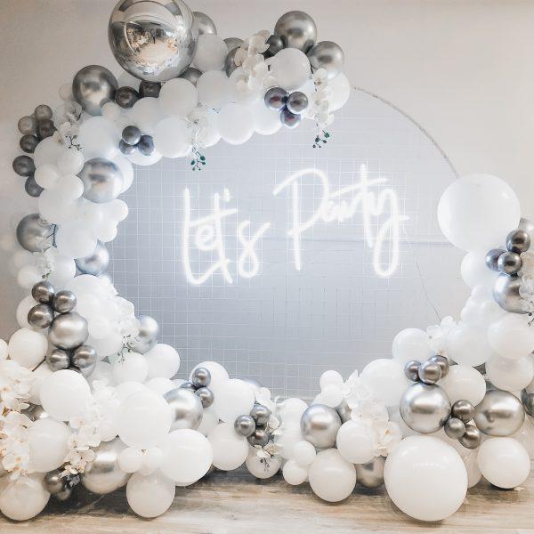 Silver & White Balloon Arch