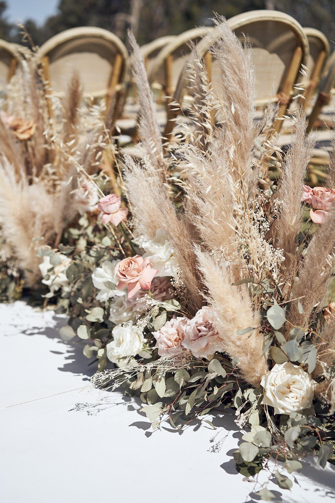 Aisle Marker Pampas Grass Wedding