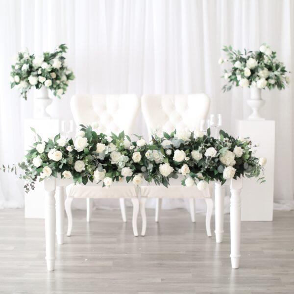 Greenery Wedding Floral Runner Head Table