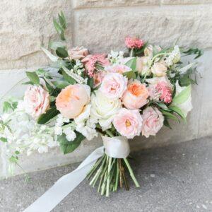 Wedding · Whimsical Peachy Pinks Fresh Bridal Bouquet