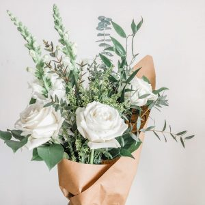 Amore · White Roses · Medium Hand-Tied Bouquet