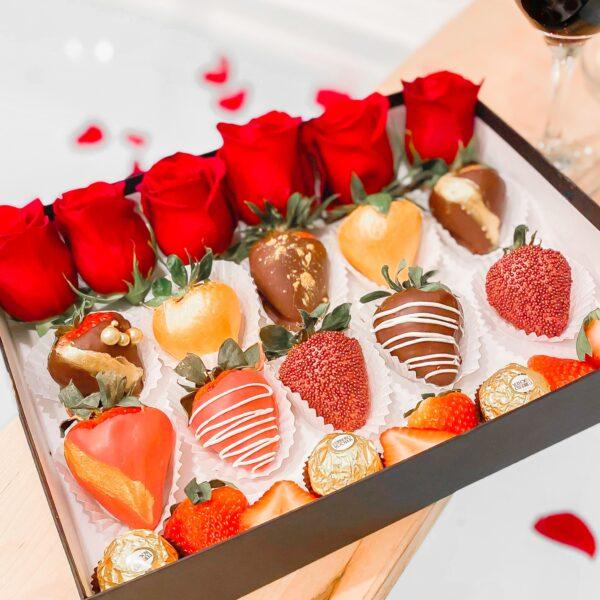 Chocolate Dipped Strawberries & Flowers · Sweet Grazing Box